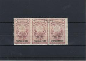 Costa Rica Early Revenue Stamps Block Paper on back Ref: R4214