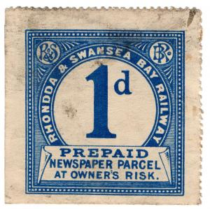 (I.B) Rhondda & Swansea Bay Railway : Prepaid Newspaper Parcel 1d