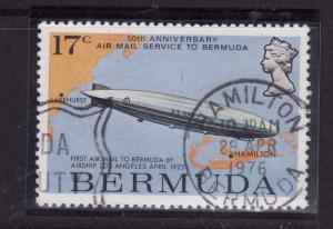 Bermuda-Sc#319-used 17c US navy airship Los Angeles-Maps-Planes-1975-