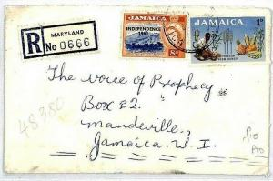 Jamaica *MARYLAND* Registered Cover RADIO RELIGION {samwells-covers} 1963 CS11