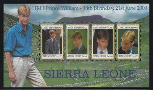 Sierra Leone MNH S/S 2283 Prince William's 21st Birthday 2000