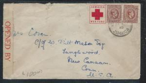 JAMAICA (PP2912B) 1940 KGVI 1 1/2D PR+ WAR FUND RED CROSS LABEL CENSOR TO USA
