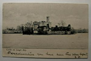 1903 Vintage Castle Lough Key to Abbey View Ireland Real Picture Postcard Cover