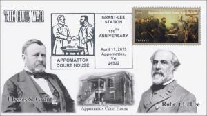 2015, Appomattox VA, Grant-Lee, Civil War, Pictorial Postmark, April 9, 15-076