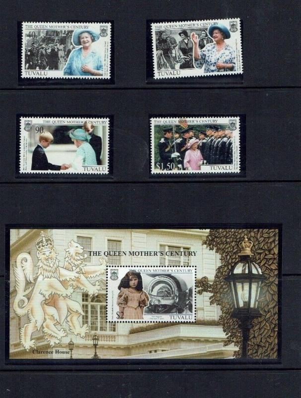 Tuvalu: 1999, Queen Elizabeth the Queen Mother, Centenary, MNH set + M/S