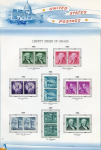 UNITED STATES SELECTION OF  LIBERTY COIL  PAIRS ON ALBUM PAGE  MINT HINGED