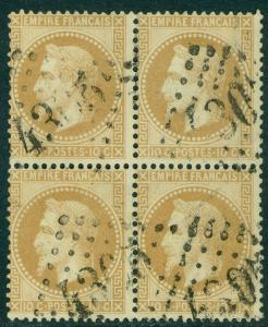 FRANCE : 1862. Yvert #21 Very Fine, Used Block of 4. Very Fresh. Catalog €250.00