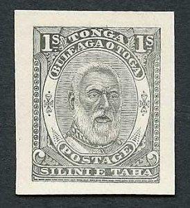 Tonga SG14 1892 King George I 1/- die proof in black on yellowish wove