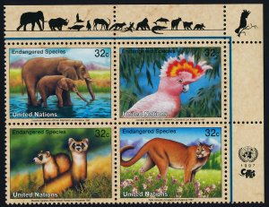 United Nations - New York 703a TR Block MNH Elephants, Cockatoo, Cougar, Ferret