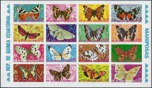 1975 Equatorial Guinea Butterflies, Papillons, imperf. Souvenirsheet VF/MNH!