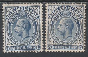 FALKLAND ISLANDS 1912 KGV 21/2D - 2 SHADES WMK MULTI CROWN CA