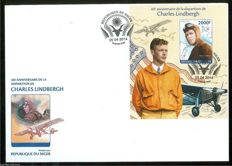 NIGER 2014 40th MEMORIAL ANNIVERSARY OF CHARLES LINDBERGH  S/S FIRST DAY COVER