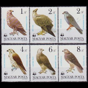 HUNGARY 1983 - Scott# 2798-803 Falcons 1-8fo NH