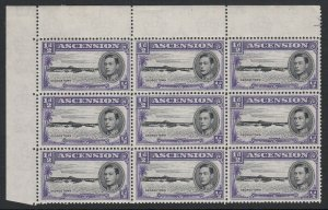 Ascension, SG 38ba, MNH blk 9 Long Centre Bar to E in Georgetown variety