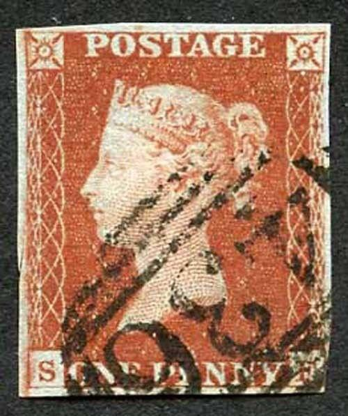 1841 Penny Red (SF) Fine four margins with clear profile