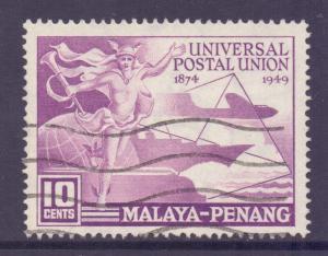 Malaya Penang Scott 23 - SG23, 1949 UPU 10c used