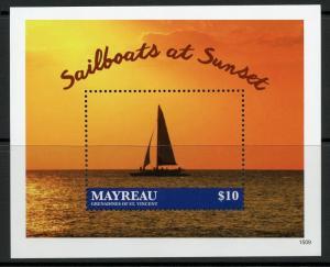 MAYREAU SAILBOATS AT SUNSET SOUVENIR SHEET MINT NH