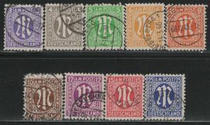 Germany AM Post Scott # 3N2a - 3N13a, used, cpl. set