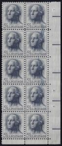 1213 Inking Error / EFO Ink Smear block of 10 George Washington Mint NH