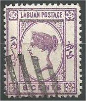 LABUAN, 1892, used 8c, Queen Victoria  Scott 35