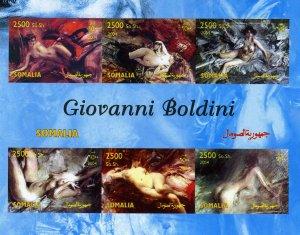 Somalia 2004 GIOVANNI BOLDINI NUDES Sheet (6) Imperforated Mint (NH)