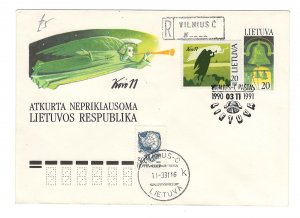 Lithuania 1990 Neat airmail cover to USA GEDIMINO METAI