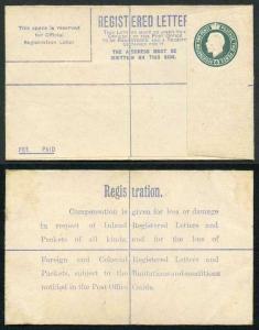 RP30b KGV 4d Grey-Green Registered Envelope Size F Flap 7 Imprint KO under Flap