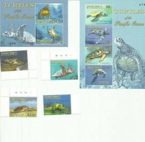 MICRONESIA 2009 TURTLES  SCOTT 849-52 AND 853-4  MNH COMPLETE SET SCV $27