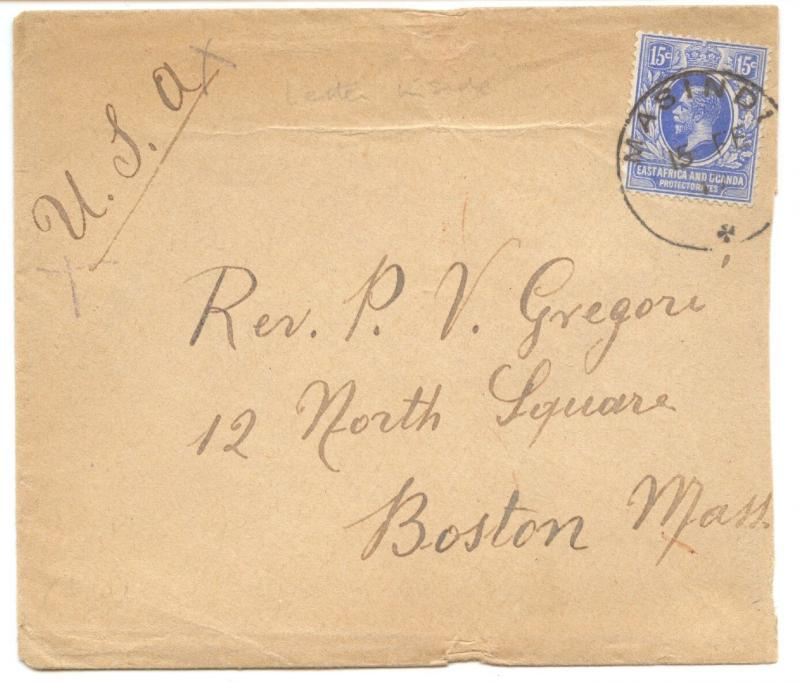 German East Africa, 1917 British Occupation, Cover Italian Mission to Boston