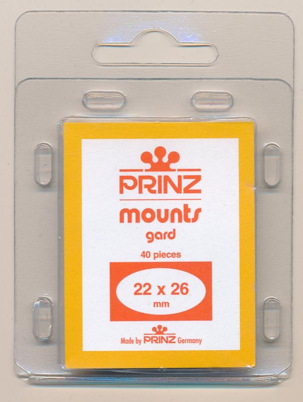 Prinz Scott Stamp Mounts Size 22 / 26 CLEAR Background Pack of 40