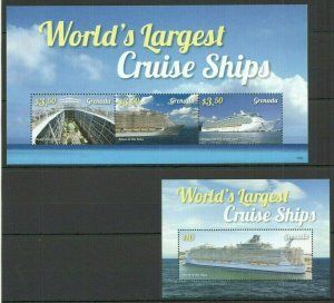 A97 2015 GRENADA LARGEST CRUISE SHIPS #6994-96 MICHEL 18,5 EURO BL+KB FIX