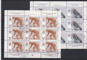 Yugoslavia Used Stamps Sheets Olympic Winter Sports Ref 24242