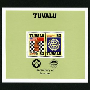 Tuvalu Anniversary of Scouting, Chess & Rotary Stamp 1986 Souvenir Sheet Sc# 352