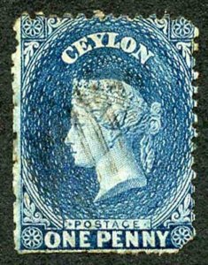 Ceylon SG63 1d Dull Blue Wmk Crown CC Used