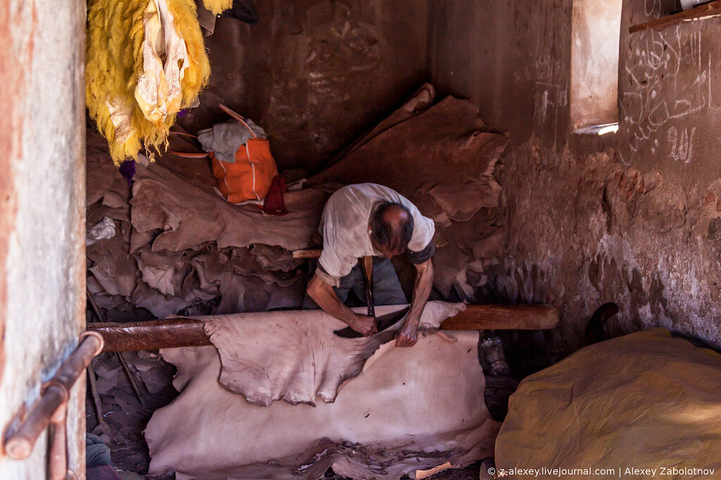 Apprentice clean the skin of wool residues