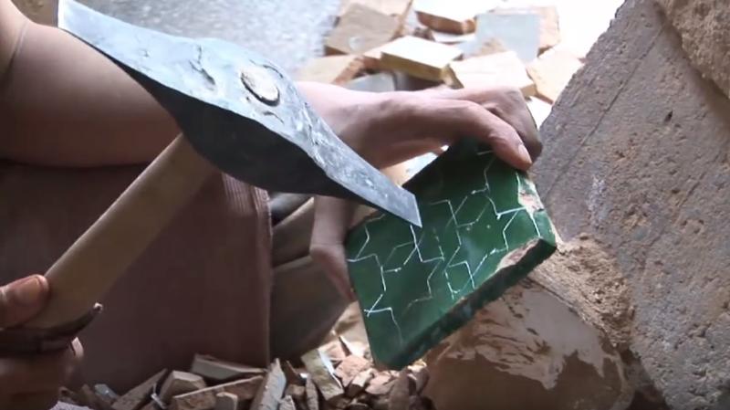 Cutting Zellige tiles