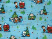 拼布手作布料 外貿棉布 SNOOPY AND FRIENDS 的藍色聖誕