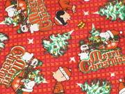 拼布手作布料 外貿棉布 SNOOPY AND FRIENDS 的紅色聖誕