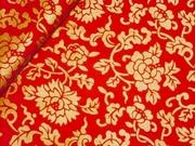 拼布手作布料 和風系列 紅地燙金花海