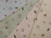 拼布手作布料 大自然中的小女孩與動物 4色