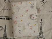 拼布手作成品 和風小鳥花枝 日本進口棉麻 六孔活頁夾套