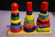 彩虹塔組 1y+ 2y+ 3y+ 4y+ /  慨念/ 木制 / 顏色 / 數字/ 形狀/ 配對/幾何 / 手眼協調