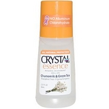 Crystal Body Mineral Deodorant Roll On, Chamomile & Green Tea, 2.25 oz 滾珠式天然止汗除味劑,甘菊及綠