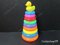 Cutieshop153 益智玩具~塑膠玩具鴨仔9個圈圈組合~#16248