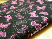 黑底粉紅蝴蝶彈力布料 DIY 手工材料15x48cm