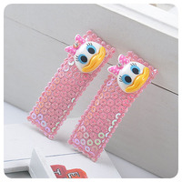 全新 韓國入口 DONALD DUCK 唐老鴨 閃亮粉紅色 髮夾 對夾 初生嬰兒小童女孩子小公主 2件裝