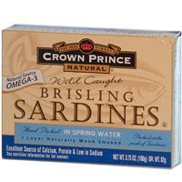 Crown Prince Natural, Brisling Sardines in Spring Water, 106 g 野生BB沙丁魚(泉水)