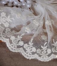 拼布手作花邊 日單10cm寬米白色網紗刺繡LACE花邊  花兒飄飄