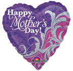 "18"" Mother`s Day Damask Sparkles [balloon]"