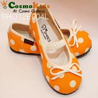 韓國童鞋 - EZ SHOES, 蝴蝶結波點布鞋, 橙色 (#160)『韓國製』